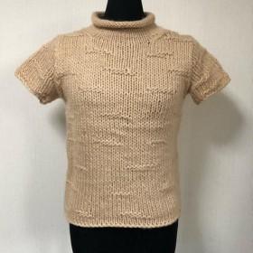 手編み棒針編み レディスベスト M 半袖セーター