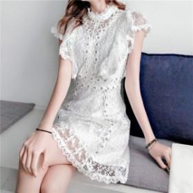 flower lacy ミニ ドレス ワンピース ショート フラワー レース 花柄 フローラル スタンドカラー トレンド フェミニン 大人かわいい パー