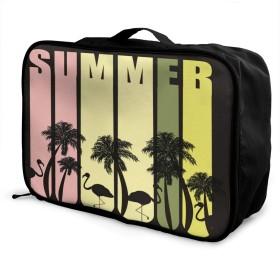 旅行用バッグ 収納バッグ ボストンバッグ Summer 夏 フラミンゴ ココシの木 手提げ スーツケース固定可 メンズ レディース 出張 小物整理 折りたたみ可能 スタイリッシュで便利