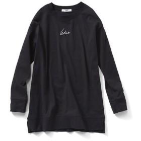 リサイクルコットンのブランドロゴTシャツ〈ブラック〉 IEDIT[イディット] フェリシモ FELISSIMO【送料無料】