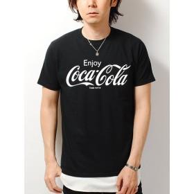フルーツオブザルーム (FRUIT OF THE LOOM) コカ・コーラ別注 モノトーンプリント Tシャツ メンズ coca cola (M, ブラックA)