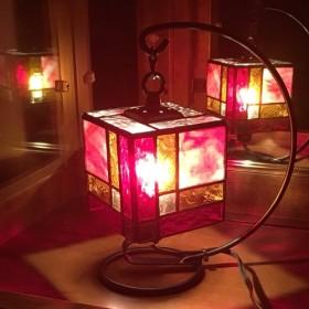 送料無料!red cube ステンドグラスのハンギング ミニランプ