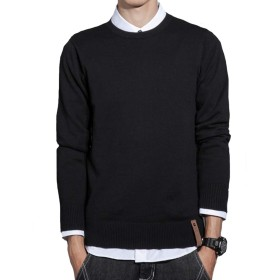 JHIJSCセーター メンズ ニット カットソー 長袖 丸首 綿 無地 防寒 大きいサイズ (ブラック, M)