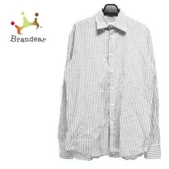 プラダ PRADA 長袖シャツ サイズ38/15 メンズ 白×ダークブラウン 新着 20190830