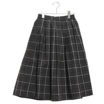 テチチ テラス アウトレット Te chichi TERRASSE outlet チェックタックギャザースカート (チャコールグレー)