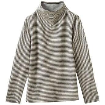 60%OFF【レディース】 接結ウール混Tシャツ(日本製) - セシール ■カラー:ボーダーA(アイボリー×チャコールグレー) ■サイズ:S