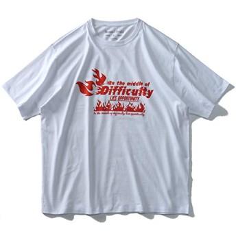 DANIEL DODD 半袖 Tシャツ オーガニック プリント 半袖Tシャツ Difficulty azt-190221 大きいサイズ メンズ【900.ホワイト-6L】