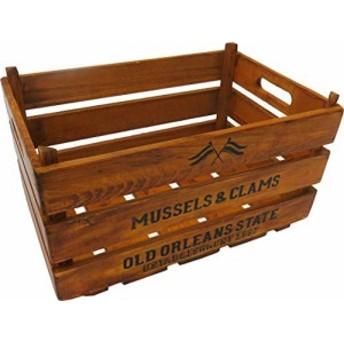 丸和貿易 収納ボックス ブラウン W38×D21.5×H25p パインウッドスタッキングコンテナボックス アンティーク 400792602