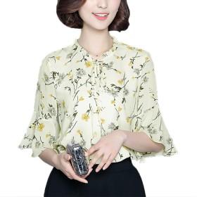 [美しいです]レディース リボン シャツ 通勤 花柄シャツ シフォンブラウス シースル トップス シフォンシャツ ポロシャツ 写真色FL