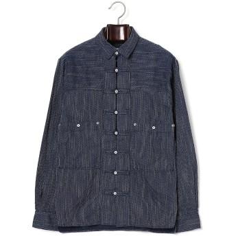 【70%OFF】ダブルポケット デザイン デニムシャツ ブルー 44