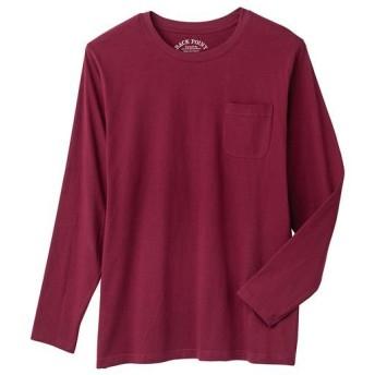 【レディース】 オーガニックコットン100%素材のクルーネックTシャツ(長袖) - セシール ■カラー:バーガンディワイン ■サイズ:5L,7L,3L,S,M,L,LL