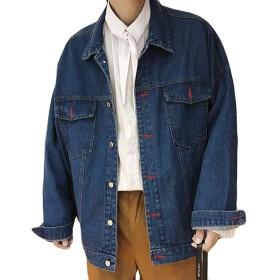(ニカ)メンズ ジャケット デニム ジャケット ダメージ 通勤 高品質 ダメージ 加工 ブルゾン 長袖 大きいサイズ ジージャン長袖 カッコイイ ヴィンテージ 韓国 ファッション カジュアル ディープブルーT2