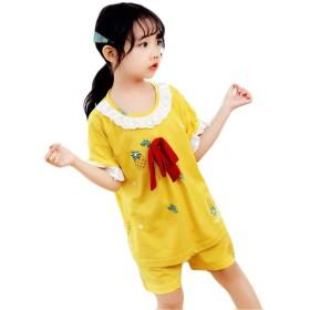 (フッカツ)女の子 ガールズ 半袖 パンツ 上下セット ショートパンツ パジャマ 可愛い カジュアル 普段着 二点セット パイナップル柄 フレア 人気 部屋着 夏 イエロー14