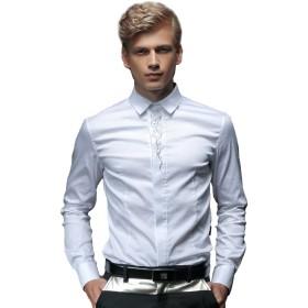 FANZHUAN シャツ メンズ 白 ストレッチ シャツ メンズ 長袖 カジュアル シャツ メンズ 長袖 おしゃれ 襟