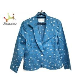 ジュンアシダ JUN ASHIDA ジャケット サイズ7 S レディース ブルー×白 肩パッド/貝殻柄 新着 20190830