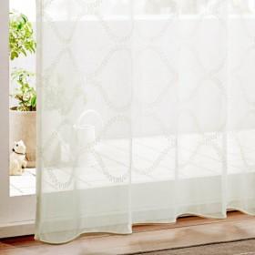 モール糸をつかったモダンデザインのトルコ刺繍レースカーテン 「ホワイト」