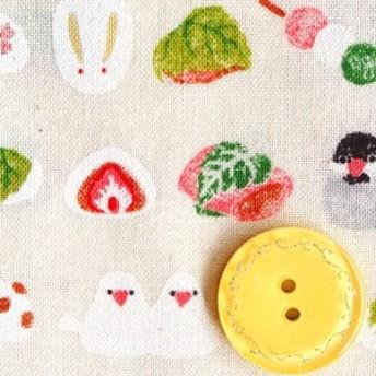 スケア生地 布 文鳥と和菓子 小柄 SO2300-1Aキナリ 愛らしい和柄 商用利用可能