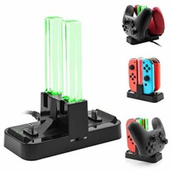 [新バージョン] Nintendo Switch ProコントローラーとJoy-Cons用充電器スタンド、Anikks二つのType-C USBポートと一つのType-C USB充電ケ