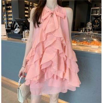 fairy pink ティアードフリル ミニ ドレス ワンピース ショート シフォン トレンド リボン 甘め フェミニン お出かけ パーティー 結婚式