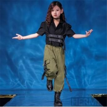 キッズダンス衣装 ヒップホップ HIPHOP セットアップ ダンストップス サルエルパンツ ズボン 子供 女の子 男の子 ステージ衣装 演出服 練