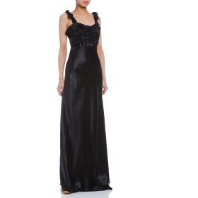 【84%OFF】リボンショルダー シャーリング イブニングドレス ブラック 36