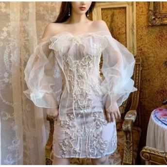 fairy シアー オフショル リボン ミニ ドレス ワンピース ショート トレンド フェミニン フェアリー きれいめ フラワー レース 刺繍 パ