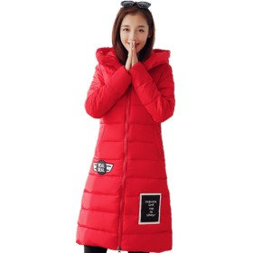 HAPPYJP 中綿 ジャケット 膝長 大きいサイズ ぼうし カワイイ厚地 防風 冬 フード付き レディース ジャケット (赤, XL)