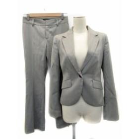 【中古】アンタイトル スーツ セットアップ ジャケット パンツ ヘリンボーン柄 ウール混 上2 下1 グレー レディース