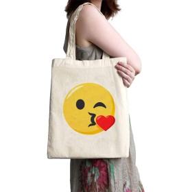 リネンキャンバスショッピングバッグ - キス絵文字 - ファッションバッグ 大きさ35x37cm