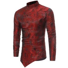 Beeatree メンズボタンダウンシャツ不規則ヘム垂直カラーシャツ Wine red M