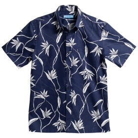 [MAJUN (マジュン)] 国産シャツ かりゆしウェア アロハシャツ 結婚式 メンズ 半袖シャツ ボタンダウン シンプルストレリチア ネイビー 4L