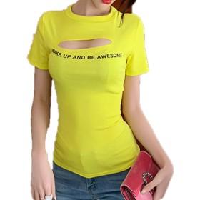 KIMIRY レディース Tシャツ 胸元空き セクシー カットソー 半袖 ワンサイズ (黄)