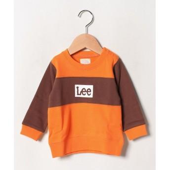 リー ベビー パネル クルーネック スウェット レディース ダークオレンジ 90 【LEE】