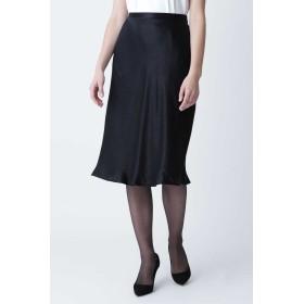 PINKY & DIANNE グロッシーサテンバイヤススカート ひざ丈スカート,ブラック