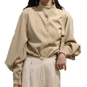 SHOKA レディース ブラウス 長袖 シンプル 無地 トップス 春 秋 レトロ 韓国ファッション (M, アプリコット)