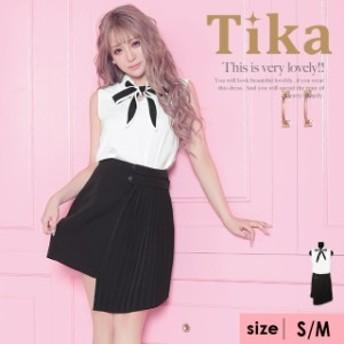 Tika ティカ ネックリボン バイカラー アシンメトリー デザイン プリーツ ツーピース フレア ミニドレス ホワイト×ブラック S,Mサイズ