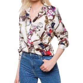 VITryst 女性プリントレジャー花春フォークスタイルロングスリーブトップブラウスシャツ 1 S