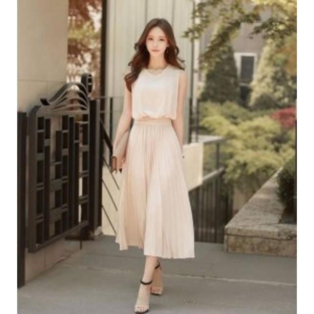 韓國 ファッション レディース ワンピース プリーツ ロング リボン きれいめ 上品 フォーマル お呼ばれ 結婚式 二次會 女子