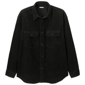 (GU)コーデュロイビッグシャツ(長袖) BLACK M