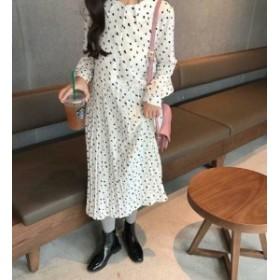 オルチャン 韓國 ファッション レディース ワンピース ロング プリーツ 襟付き 切り替え 長袖 ゆったり 大人可愛い レトロ