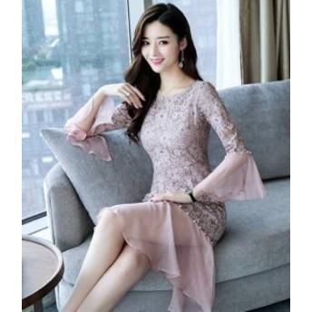 オルチャン 韓國 ファッション ワンピース パーティードレス ひざ丈 花柄 透け感 レース 大人 上品 フォーマル お呼ばれ 結