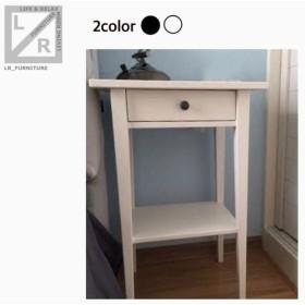 オーダーメイド 職人手作り ベットサイドテーブル サイドテーブル 北欧モダン 白家具 ホワイト 天然木 サイズオーダー可