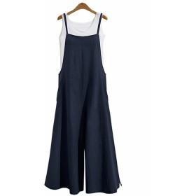 EASONDDD レディース サロペット オールインワン ワイドパンツ ガウチョパンツ ガウチョ ワンピース ロング丈 キャミ スカート ゆったり かわいい 体型カバー リネン 無地 カジュアル 大きいサイズ