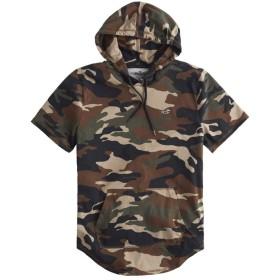 [ホリスター] メンズ パーカー Tシャツ (フードつき/半袖) MUST-HAVE HOODED T-SHIRT カモフラージュ (USA基準) S [並行輸入品]
