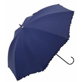ビコーズ PUヒートカット フリル 全3色 長傘 日傘/晴雨兼用 手開き ネイビー 8本骨 47cm UVカット BE-96219