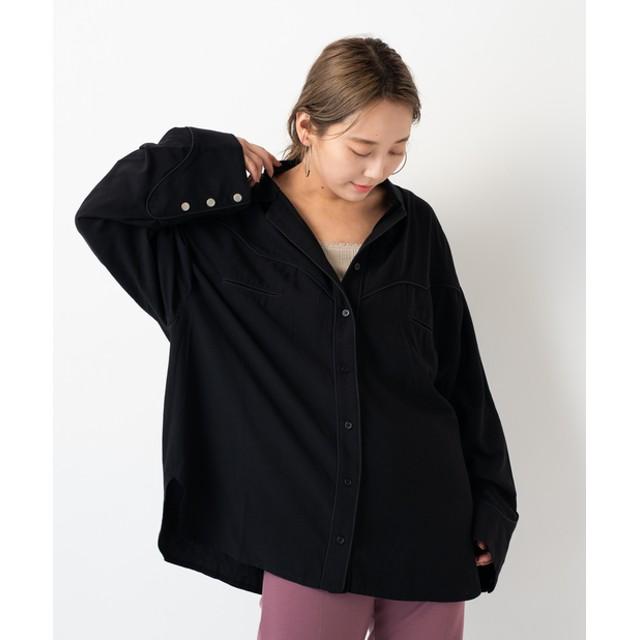 Kastane(カスタネ) レディース パイピングウエスタンシャツ ブラック