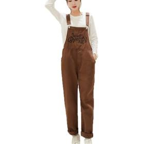 [ベィジャン] レディース サロペット オーバーオール パンツ 九分丈 ストレートパンツ かわいいカジュアル 刺繍 おしゃれ ファッション ゆったり 学院風 春秋 大きいサイズ コーヒーM
