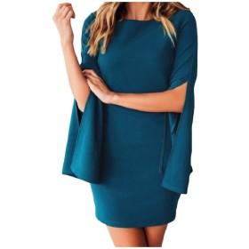 Tootess 女性のスキニーロングスリーブラウンドカラーエレガントな作品セクシードレス Blue XL