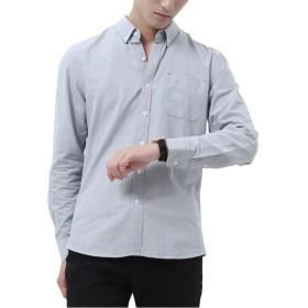 Goodid ボタンダウンシャツ メンズ ワイシャツ Yシャツ オックスフォード おしゃれ 長袖 (グレー, L)