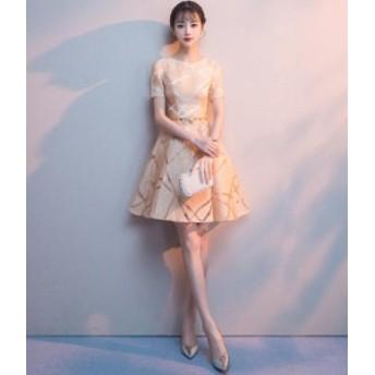 披露宴 謝恩会 ショートワンピ 可愛い 女性 ウェディングドレス 花嫁 ブライダル 素敵 ワンピース 大きいサイズ 結婚式 袖あり 二次会 パ